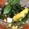 Peach Corn Kale Salad with Basil Honey Vinaigrette
