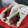 Sweet Potato and Black Bean Tacos with Pomegranate Cranberry Salsa