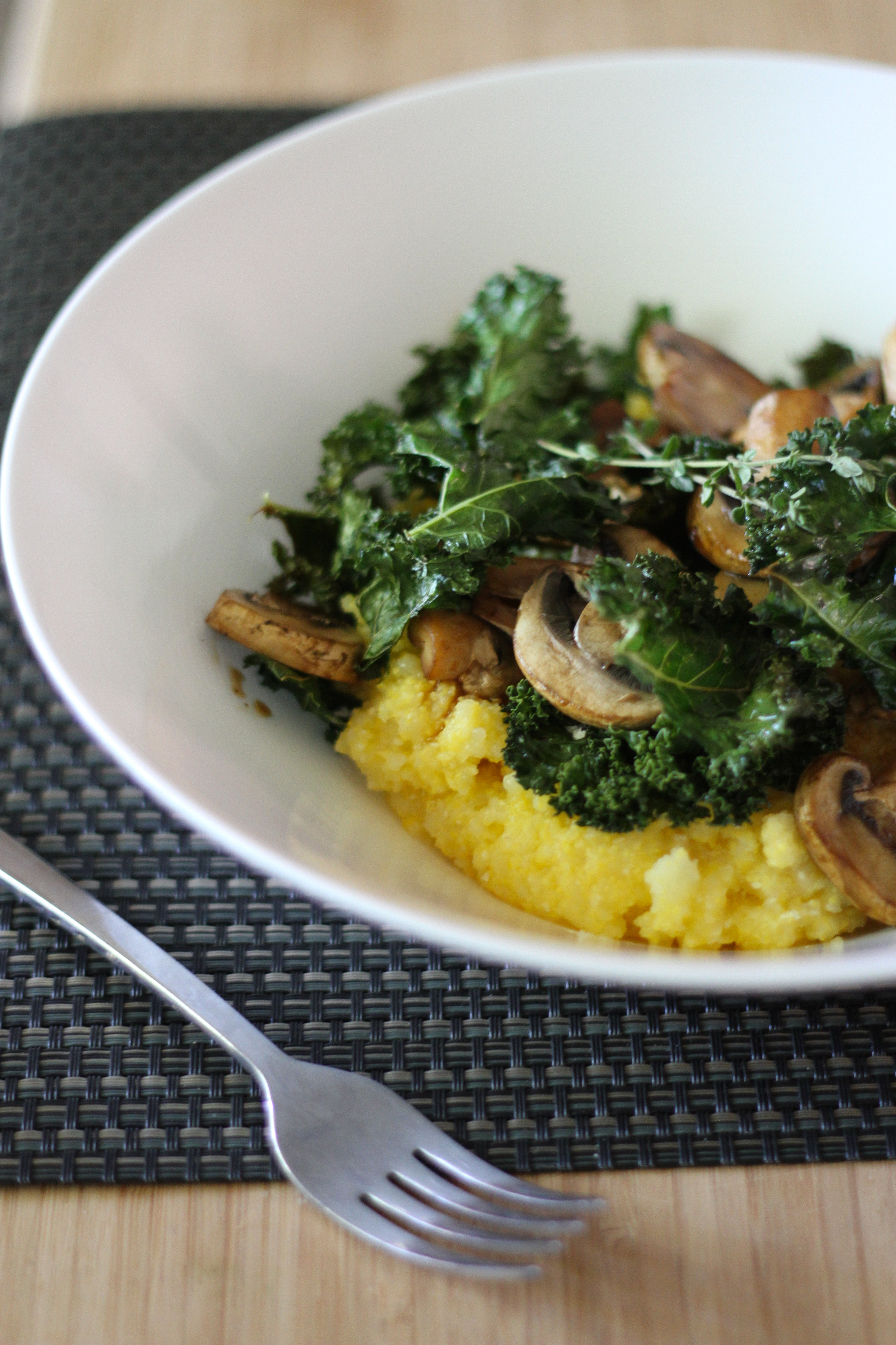 Creamy Polenta Bowl with Mushrooms and Crispy Kale ...